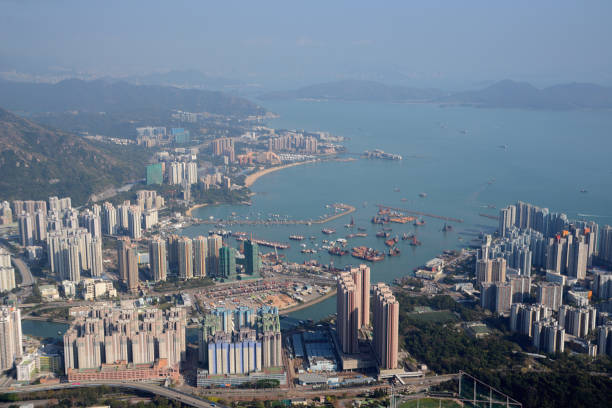 Tuen Mun town view from Castle Peak, New Territories, Hong Kong stock photo