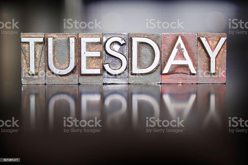 Tuesday Letterpress stock photo