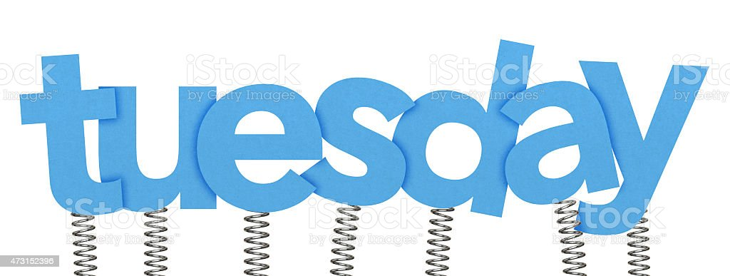 tuesday made from letters on springs stock photo