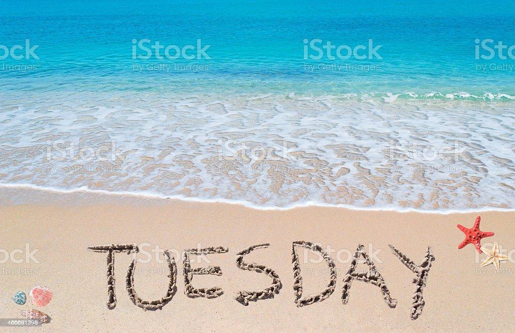 tuesday on a tropical beach stock photo