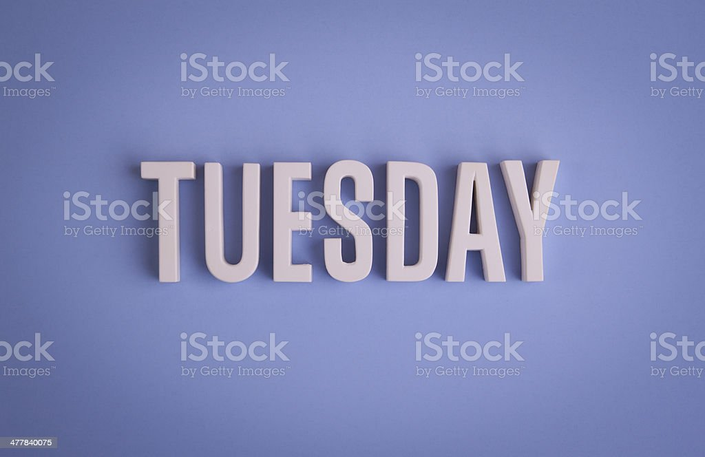 Tuesday sign lettering stock photo