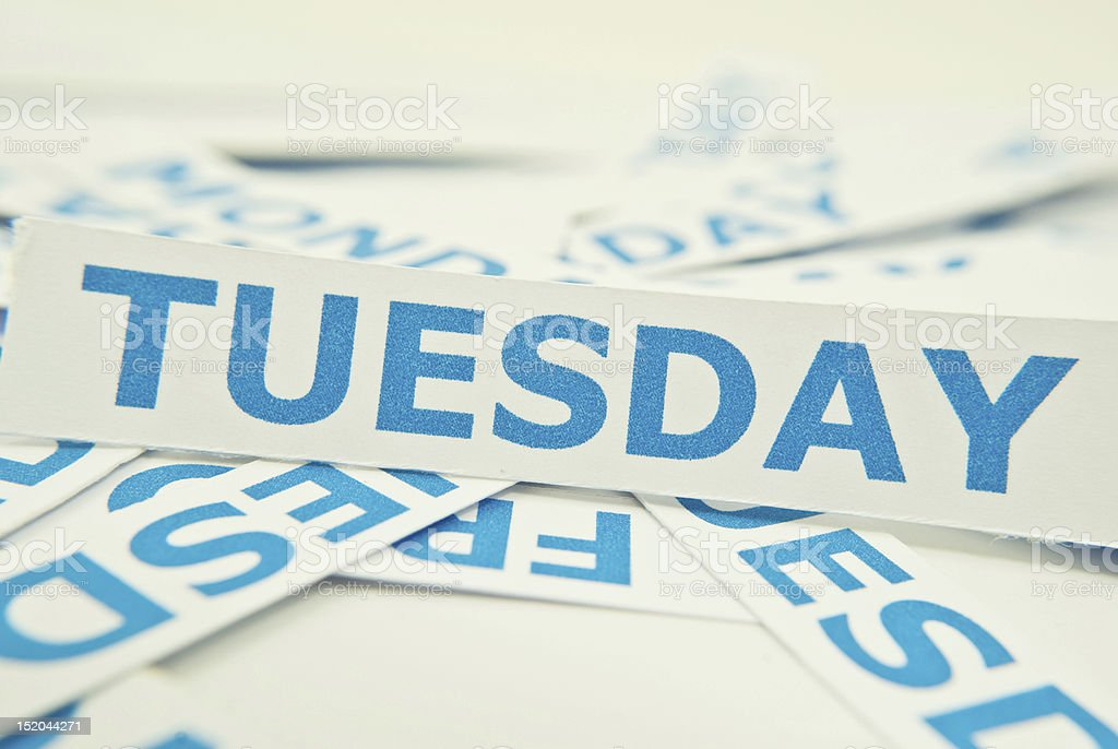 Tuesday word texture background. stock photo