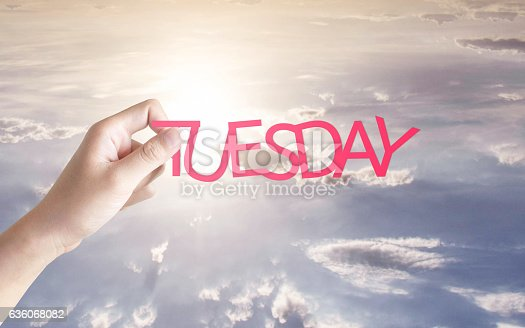 1039894076 istock photo Tuesday written in the sky 636068082