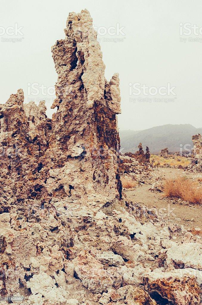 Tufa rock, Mono Lake, California. stock photo
