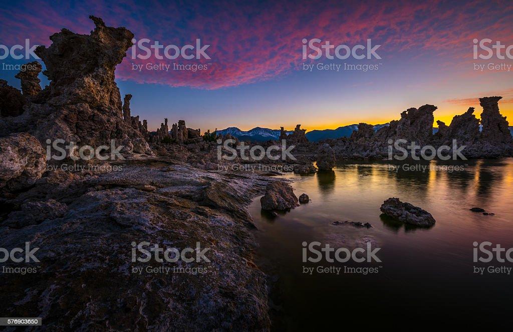 Tufa Towers at Mono Lake against Beautiful Sunset Sky stock photo