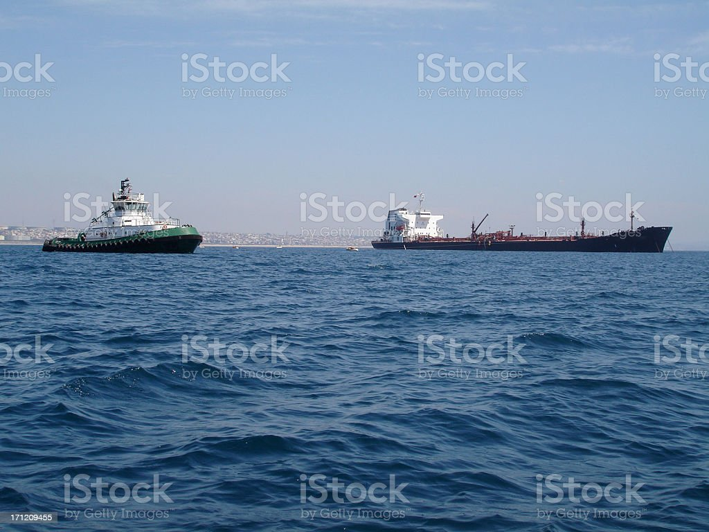 Tug and Tanker royalty-free stock photo