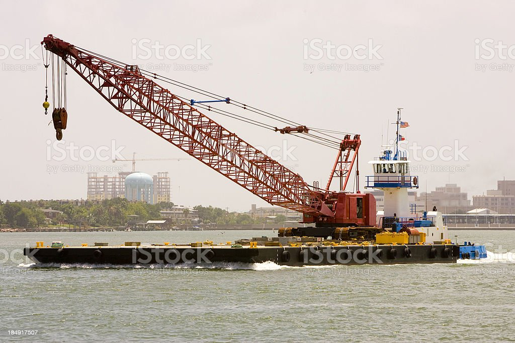 Tug, Barge and Crane stock photo