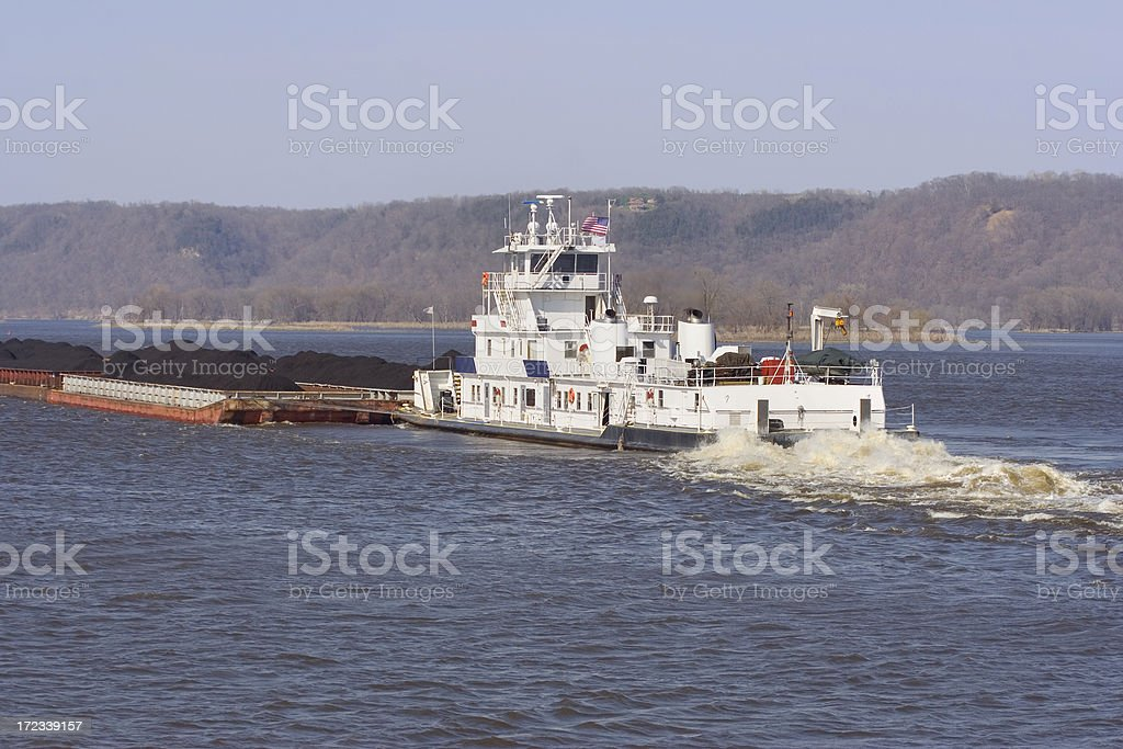 Tug Boat and Coal stock photo