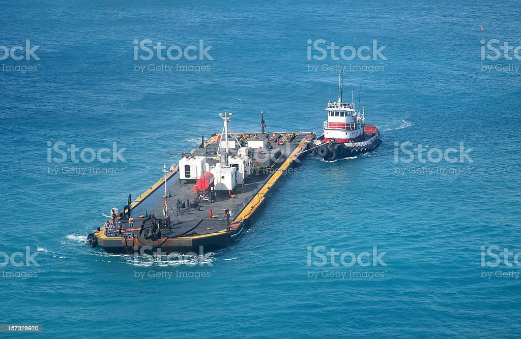Tug Boat And Fuel Barge stock photo