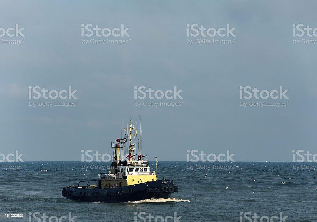 Tug boat at sea royalty-free stock photo