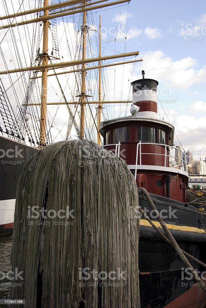 Tug Boat at South St. Seaport, NYC royalty-free stock photo