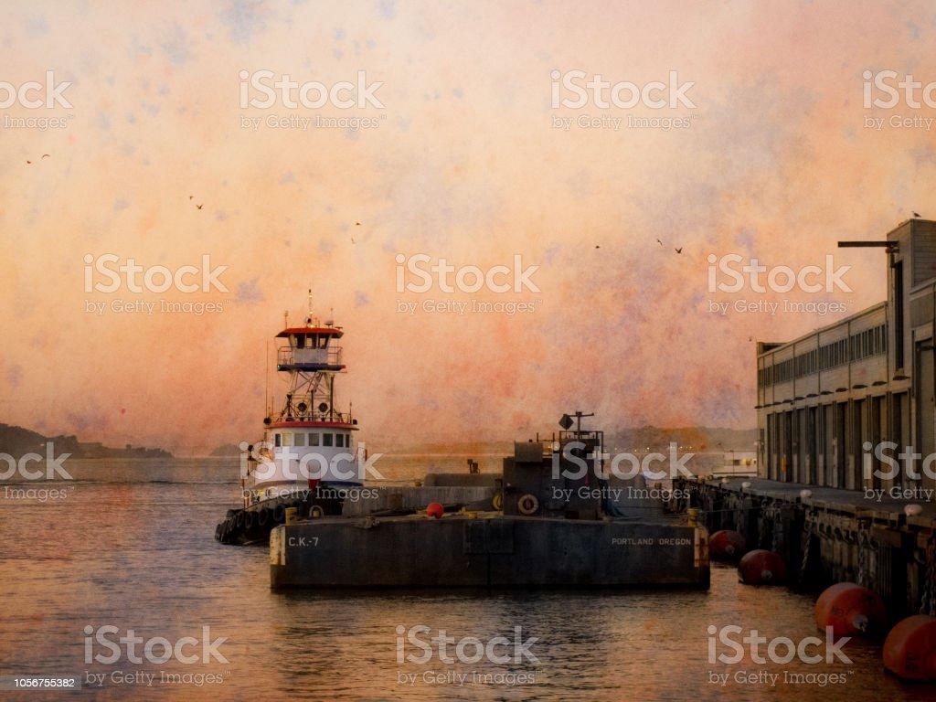 Tug Boat docked San Francisco Bay stock photo
