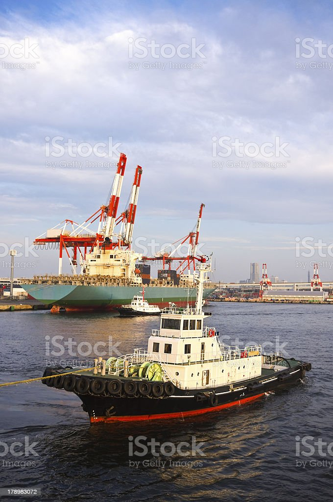 tug boat in yogohama port japan royalty-free stock photo