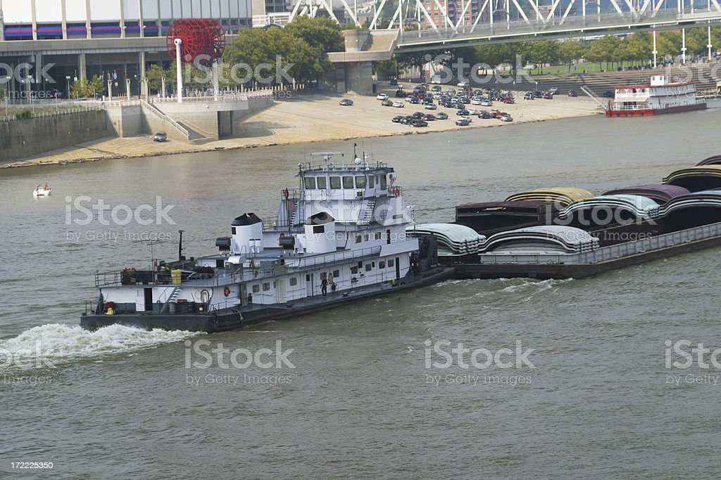 Tug Boat with Barges - Cincinnati, Ohio River stock photo