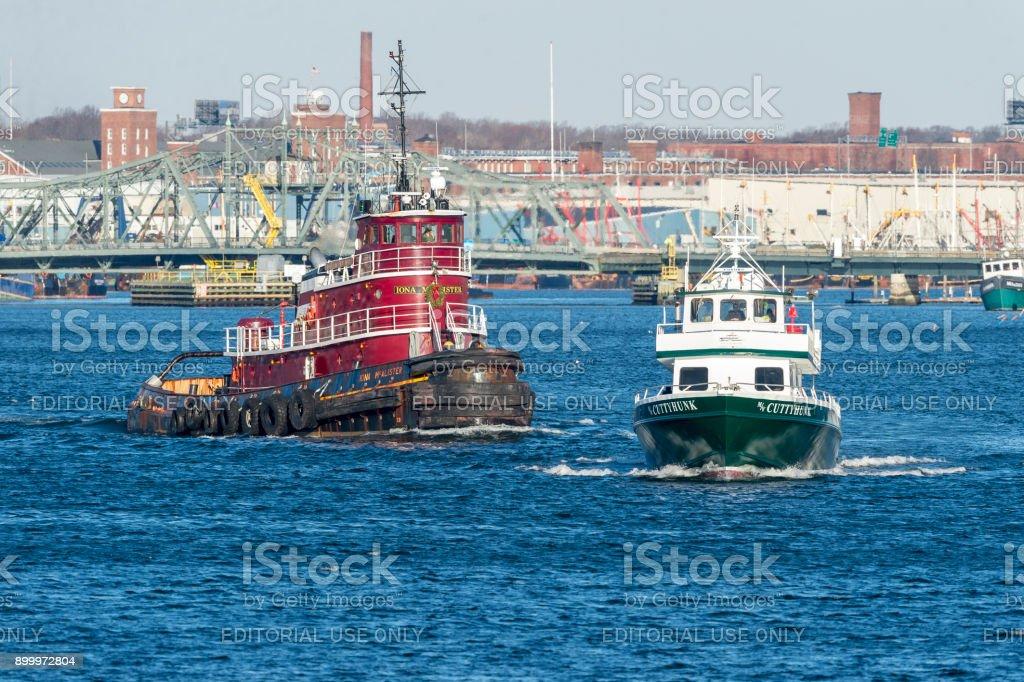 Tug Iona McAlister and ferry Cuttyhunk stock photo