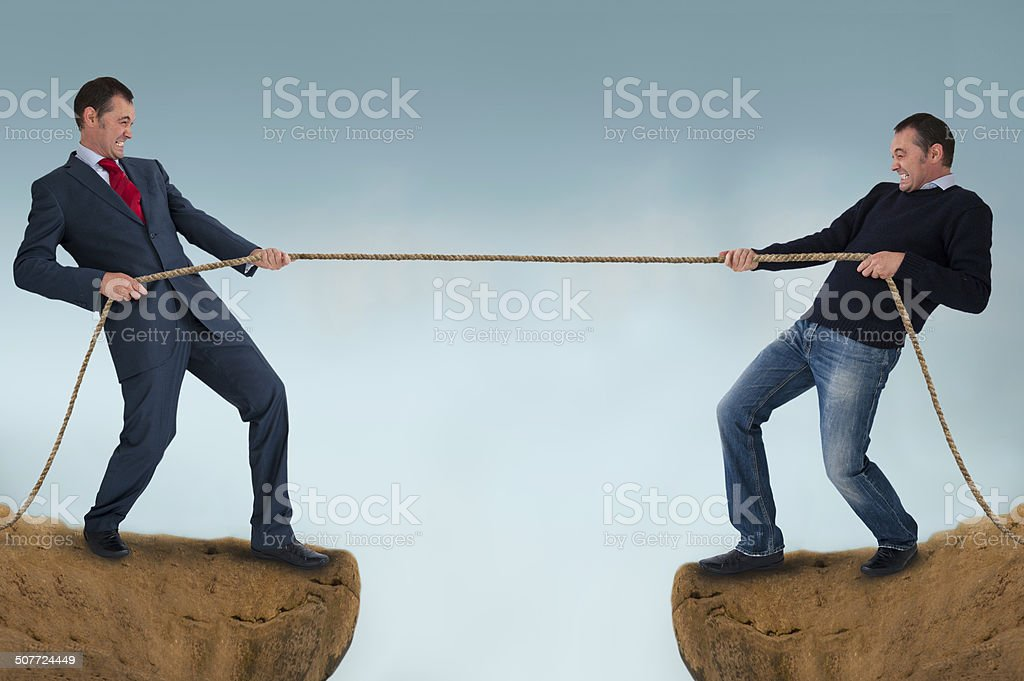 tug of war test of strength stock photo