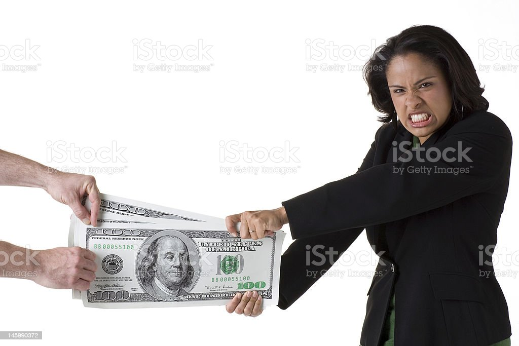 Tug of war with big money royalty-free stock photo