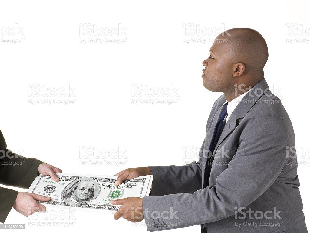 Tug of war with big money stock photo