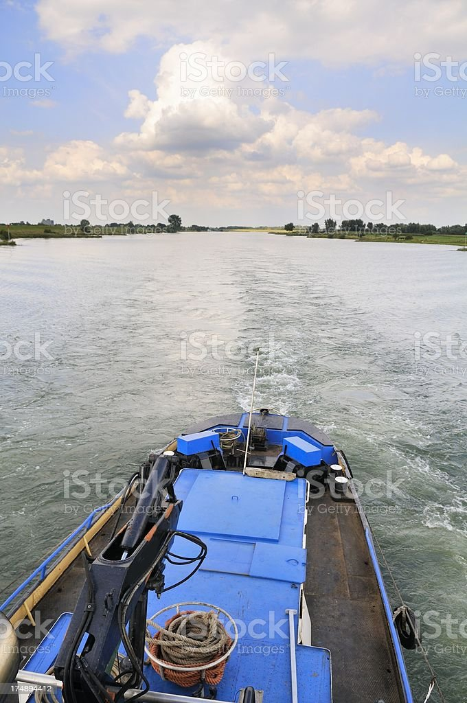 Tug on a river royalty-free stock photo