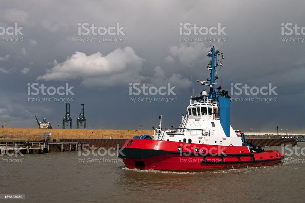 Tug ship entering port at Great Yarmouth stock photo