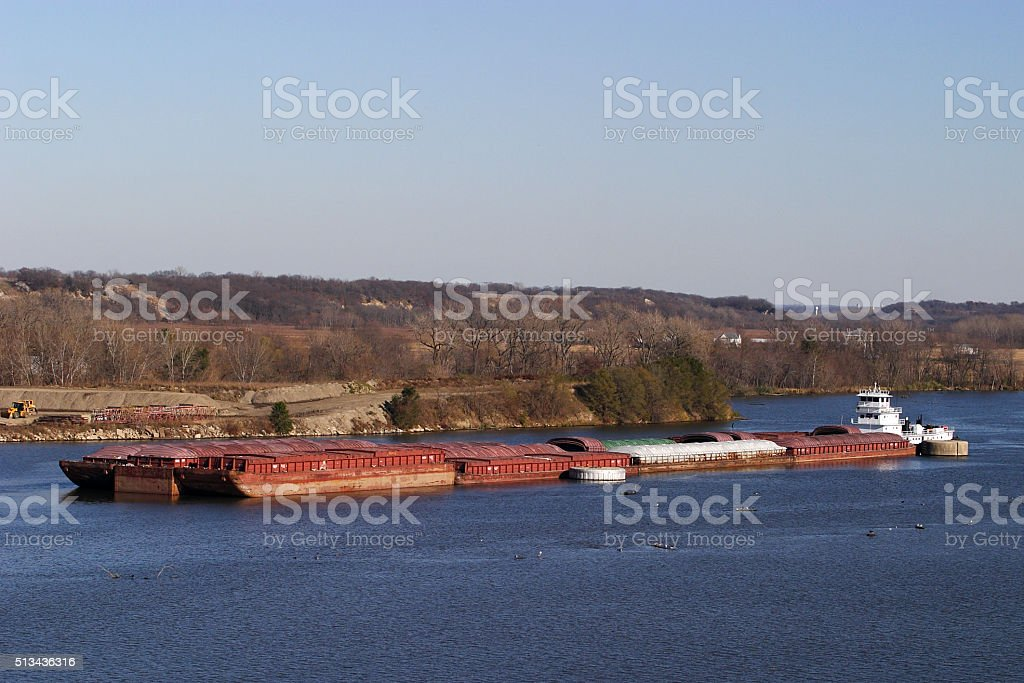 Tugboat and Barge stock photo