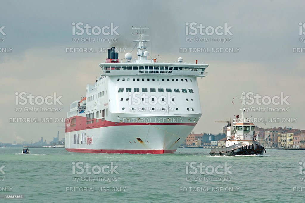 Tugboat and Ferry in Venice royalty-free stock photo