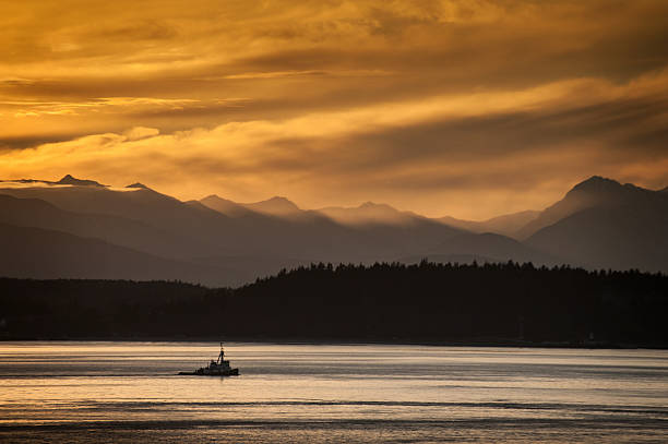 Tugboat and Olympic Mountains stock photo