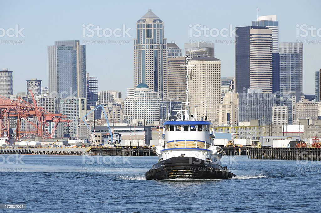 Tugboat and port of Seattle royalty-free stock photo