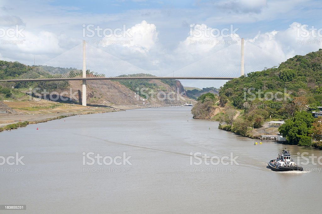 Tugboat Approaching the Centennial Bridge stock photo