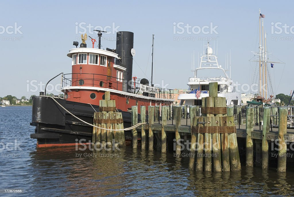 Tugboat at Dock in Clear Morning Light royalty-free stock photo