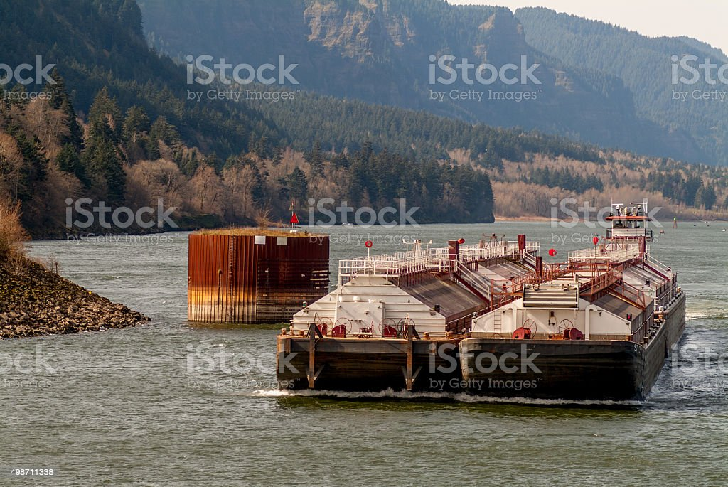 Tugboat  Barge Columbia River Gorge Bonneville Lock and Dam Oregon stock photo