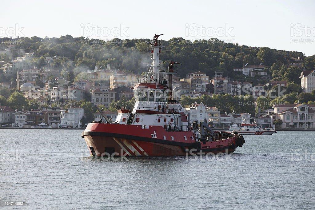 Tugboat on Bosphorus stock photo