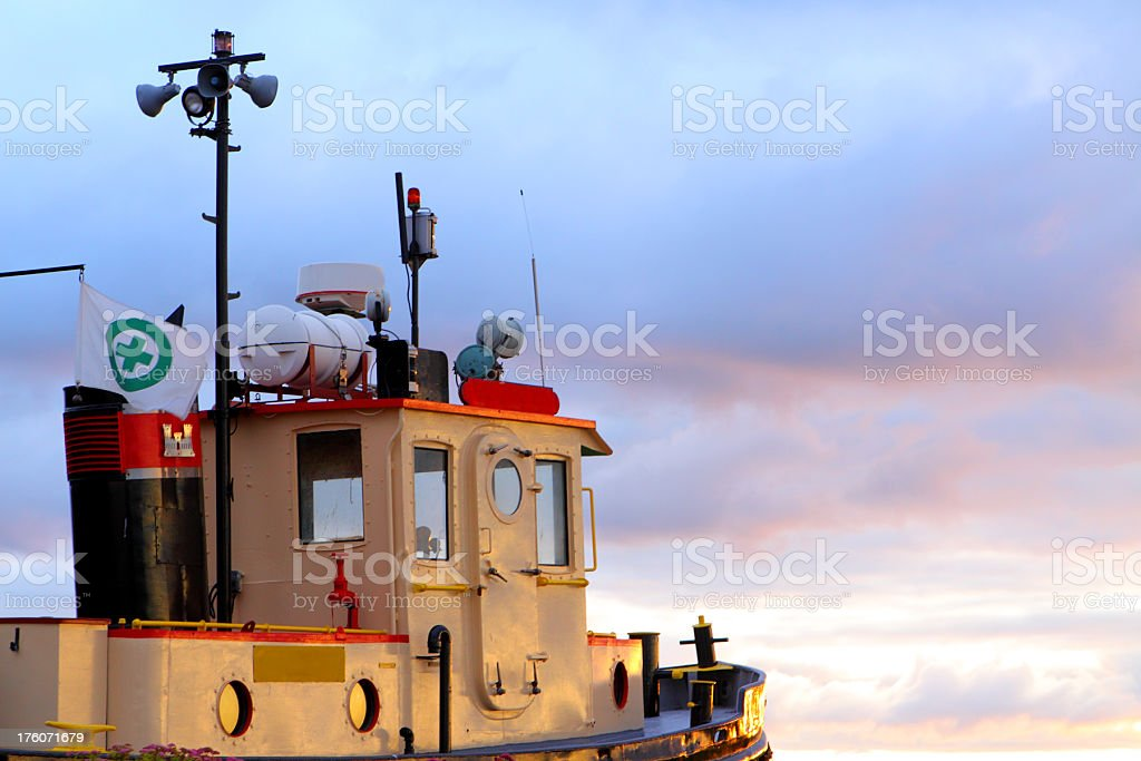 Tugboat Sunrise royalty-free stock photo