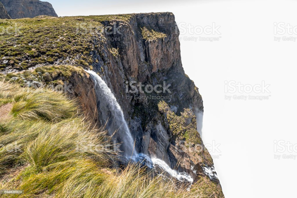 Tugela Falls falling into the clouds on sentinel hike, Drakensberge stock photo