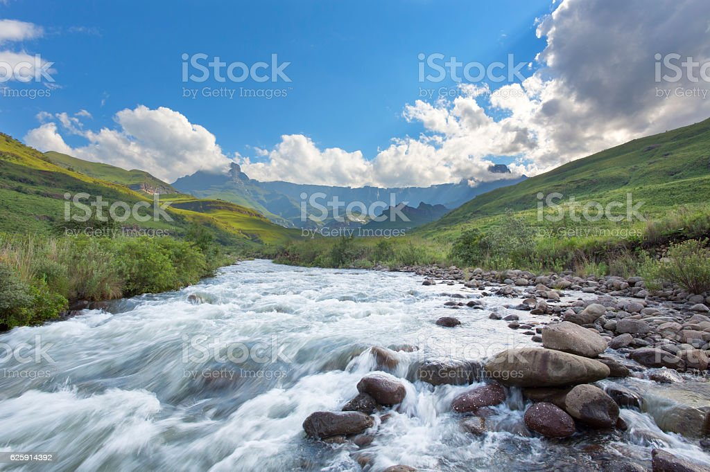 Tugela River, Amphitheatre and clouds stock photo