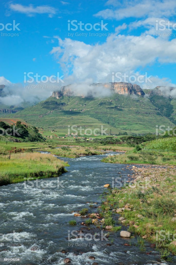 Tugela river and  mountains stock photo