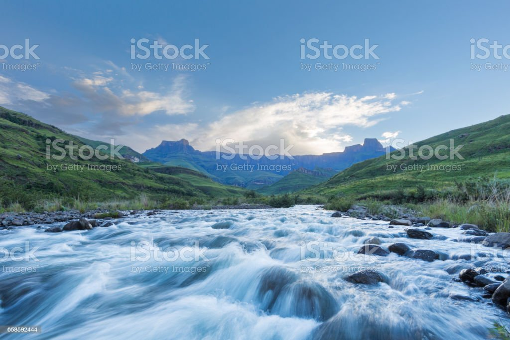 Tugela River flowing fast stock photo