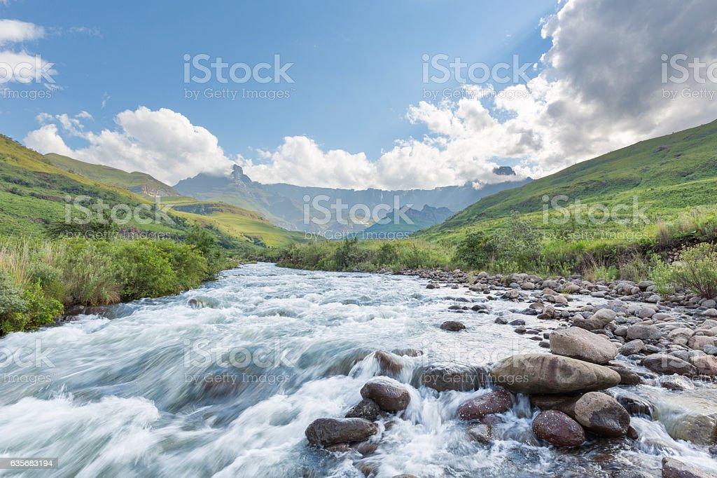 Tugela River in the Drakensberg stock photo