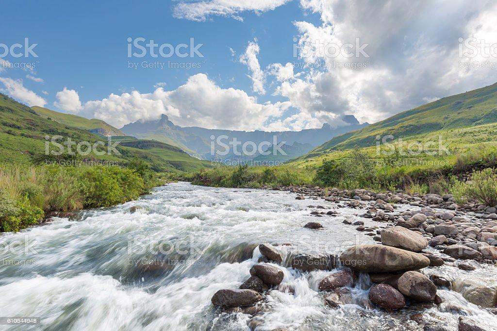 Tugela Valley and Drakensberg stock photo