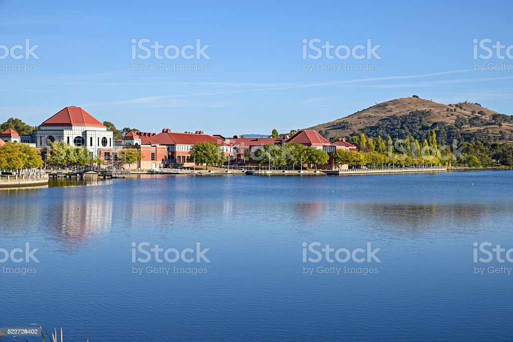 Tuggeranong, suburb of Canberra, in the morning from the lake stock photo