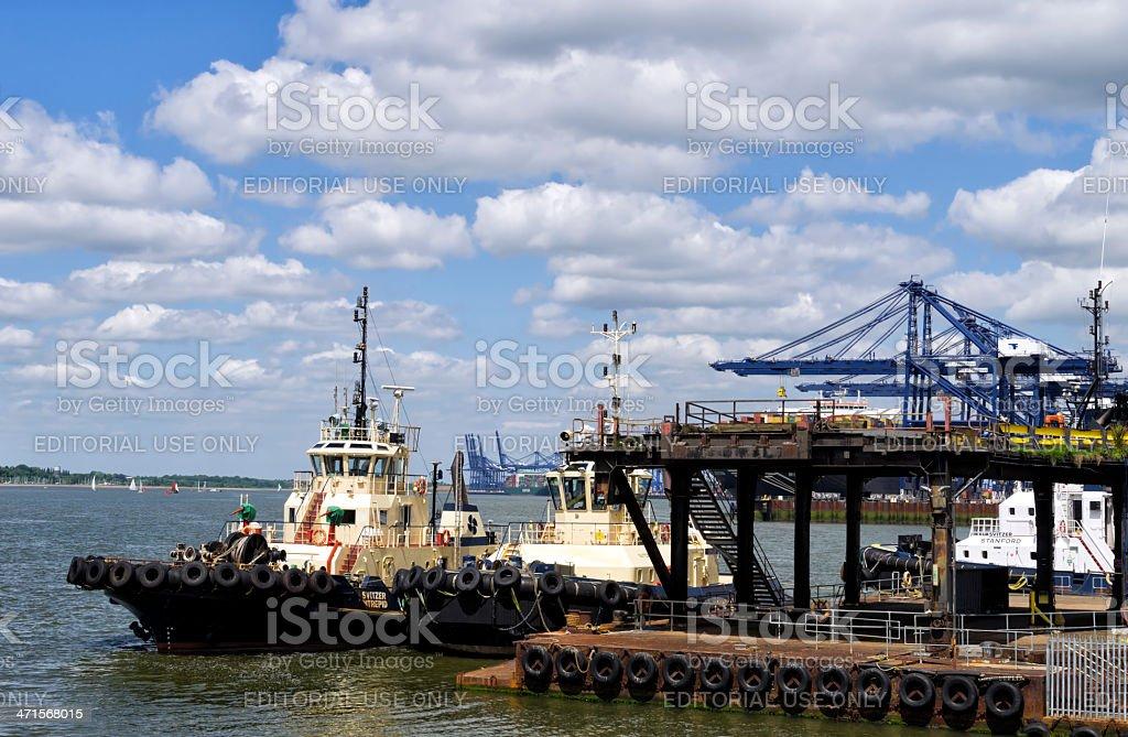 Tugs at Felixstowe stock photo