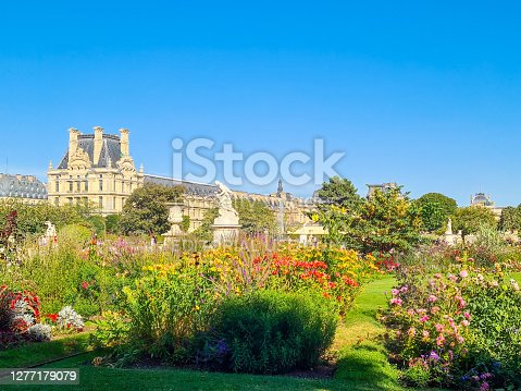 In August 2020, tourists and parisian people were enjoying the freshness of Tuileries gardens during a very hot afternoon in Paris.