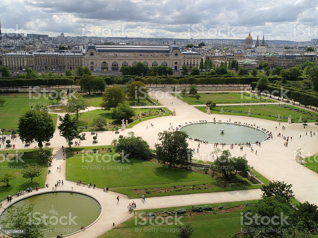 Tuileries's gardens Air sight of Tuileries's Gardens, next to the Museum of the Louvre in Paris, France. Architecture Stock Photo