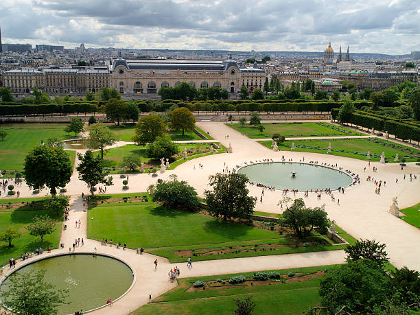 Tuileries's gardens Air sight of Tuileries's Gardens, next to the Museum of the Louvre in Paris, France. musee du louvre stock pictures, royalty-free photos & images