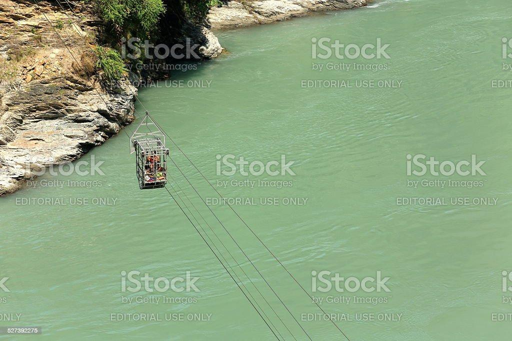 Tuin cable car over Trishuli river-Nepal. 0777 stock photo