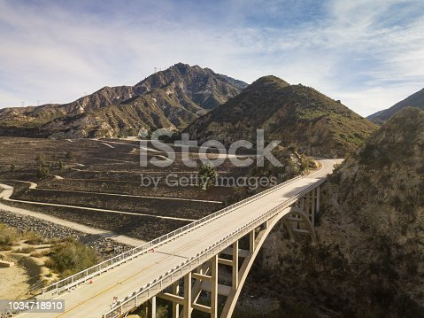 istock Tujunga Dam Bridge- Aerial Drone Shot 1034718910