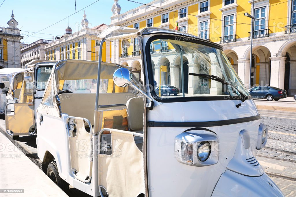 Tuk tuk on street of Lisbon in Portugal stock photo