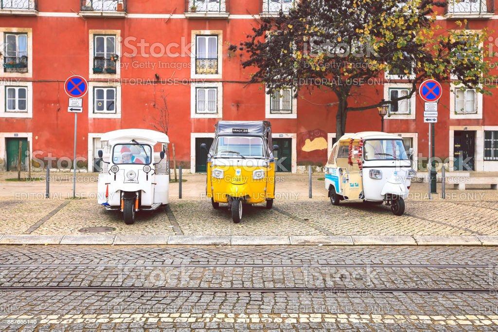 Tuk Tuk Taxis in Lisbon stock photo