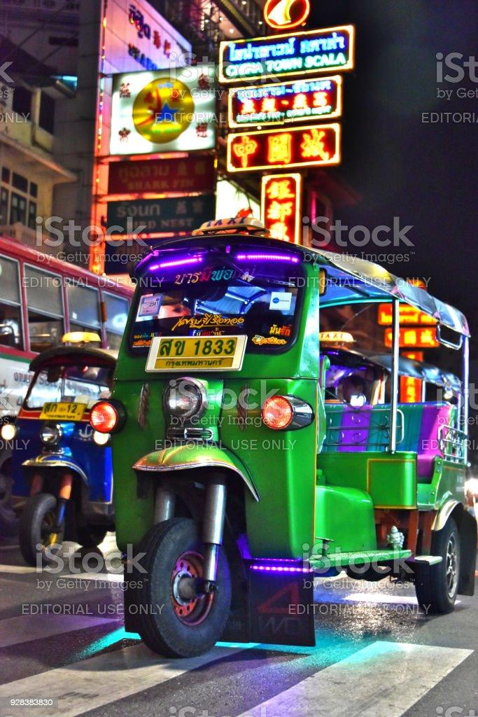 Tuk-tuk, an  auto rickshaw in Bangkok Chinatown stock photo