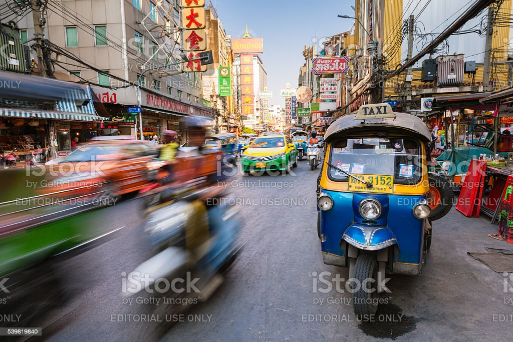 Tuk-tuk taxi in Chinatown, Bangkok, Thailand stock photo